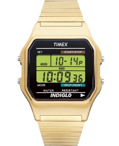 Timex Classic Herrklocka T78677 LCD/Gulguldtonat stål