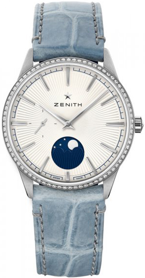 Zenith Elite Moonphase Damklocka 16.3200.692-01.C832 Vit/Läder Ø36